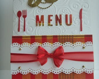"""Double white embossed hearts """"MENU"""" theme madras make you even card Kit"""