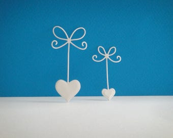 Cut set of 2 bows hearts white for scrapbooking and card