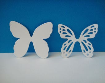 Cutting white set of 2 butterflies of 5.4 cm in height