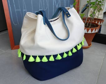 Tote bag linen and Navy blue cotton and neon tassels