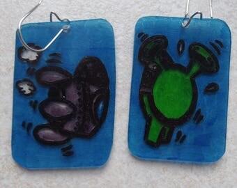 Extra terrestrial grafiti earrings