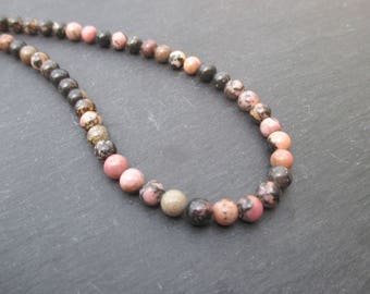 Rhodonite: 15 mm round beads 6 - pink gemstone