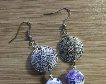 "Earrings ""Chinese bead"" Silver substrate"