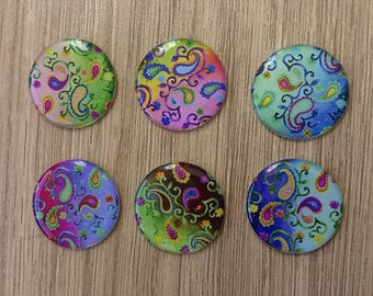 "set of 6 resin cabochons 25 mm ""Kashmir"""