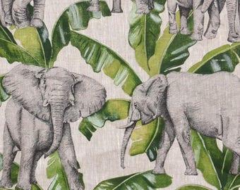 Fabric by the meter, Elephants, banana, ivory, Thévenon