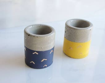 """Gold Mountain Concrete Trinket Dish - Small Cylinder Pot - 2 1/4"""" Tall - Office Desk Decoration"""