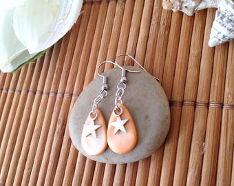 Earrings with Pearl shell and star pierced earrings