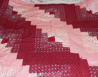 Beautiful Machine Stitched Reds Lap Quilt