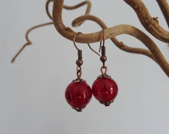 -Copper - red Crackle glass bead earrings-