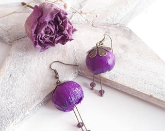 Corolla violet Flower Earrings