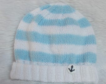 wool baby Cap 0/3 months sailor style blue and white hand knitted