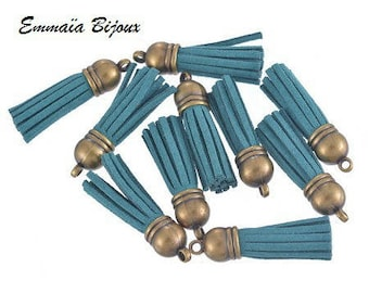 39x10mm teal suede tassel