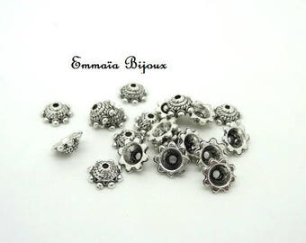 20 bead caps for 9 mm silver metal bead