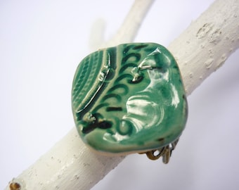 Adjustable ring, ceramic cabochon, handmade, pottery workshop, artist jewelery, rustic jewelery, handcrafted jewelery, birthday gift