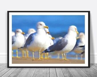 Seagulls Print - Beach Cottage Decor, Digital Download, Segulls Poster, Nursery Wall Art, Seagulls Art, Printable Art, Seagull Art Print