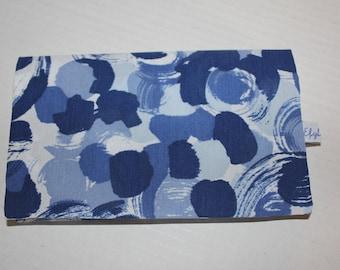 Fabric checkbook blue cotton