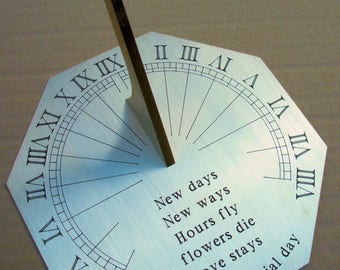 Personalised Octagonal Sundial, up to 100 characters on several lines