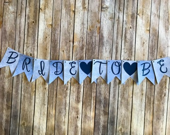 Bride to Be Banner- Blue Floral
