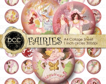 Digital Collage Sheet Fairies 001 1 inch Circles for Crafts, Pendants, Bottlecaps, Buttons 300 dpi