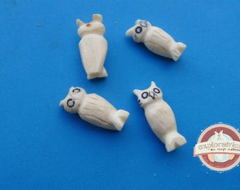 OWL bone bead black ecru 8x20mm