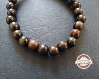 5 ethnic round beads 6mm brown black ebony wood