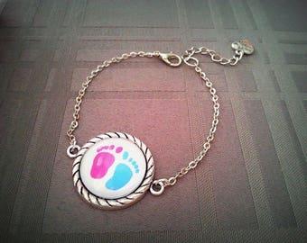 "Bracelet ""Small"" feet"", cabochon glass 20mm antique silver metal"