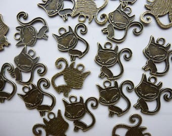 Set of 5 cat charms in bronze