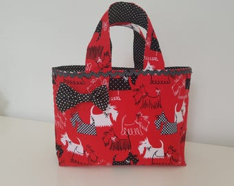 Tote bag for little girl in red cotton