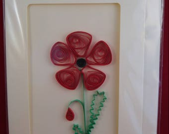 Red Poppy handmade Greetings card