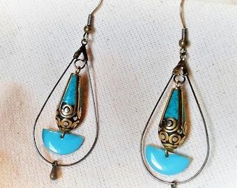 Ethnic Tibetan Turquoise earrings