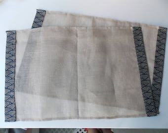 Place mats in linen veil(sail) and Japanese fabric