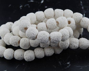 10 white 10mm natural lava beads