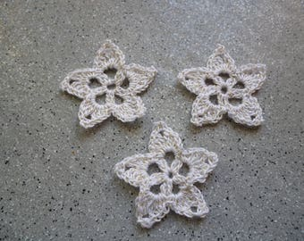 3 stars flowers crocheted white cotton and golden threads