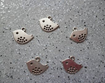 5 charms birds in metal silver 8 x 16 mm
