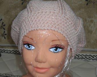 beige/salmon crochet Beanie dark head circumference 43 cm