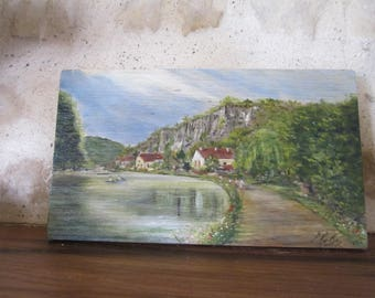 French country landscape, acrylic painting on wood