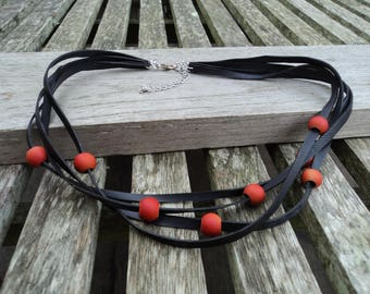 The Choker in inner tube recycled and orange beads