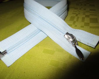 separable light blue nylon zip