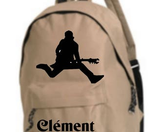 beige backpack Rock n roll personalized with name