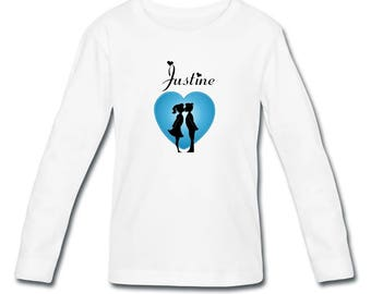 T-shirt girl long sleeve love in heart personalized with name