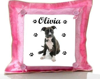 Cushion Pink American staff personalized with name