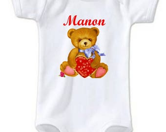Teddy bear and heart personalized with name Bodysuit