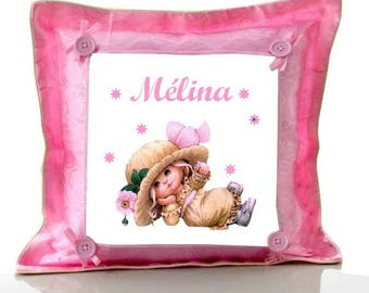Cushion Pink baby girl vintage personalized with name