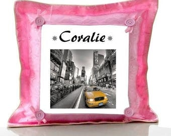 Cushion Pink New york personalized with name