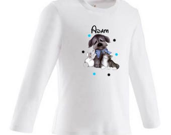 baby dog, cat and rabbit personalized with name t-shirt