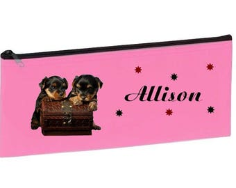 Small pale pink School Kit dogs personalized with name