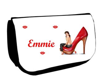 Black cosmetic case /crayons pin personalized with name