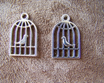 100 charms in silver colored metal caged bird