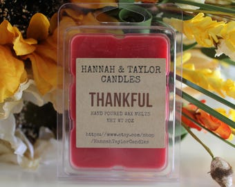 Thankful Handmade Wax Melt | Be Thankful Yankee Candle Type Seasonal Wax Tart | Stocking Stuffer | Fall Soy Wax Melt | Pumpkin Vanilla Scent