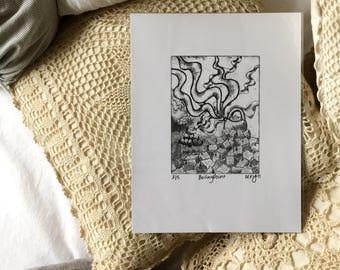 Printmaking, handmade print, 8.5x11in, black and white, home decor, cardstock